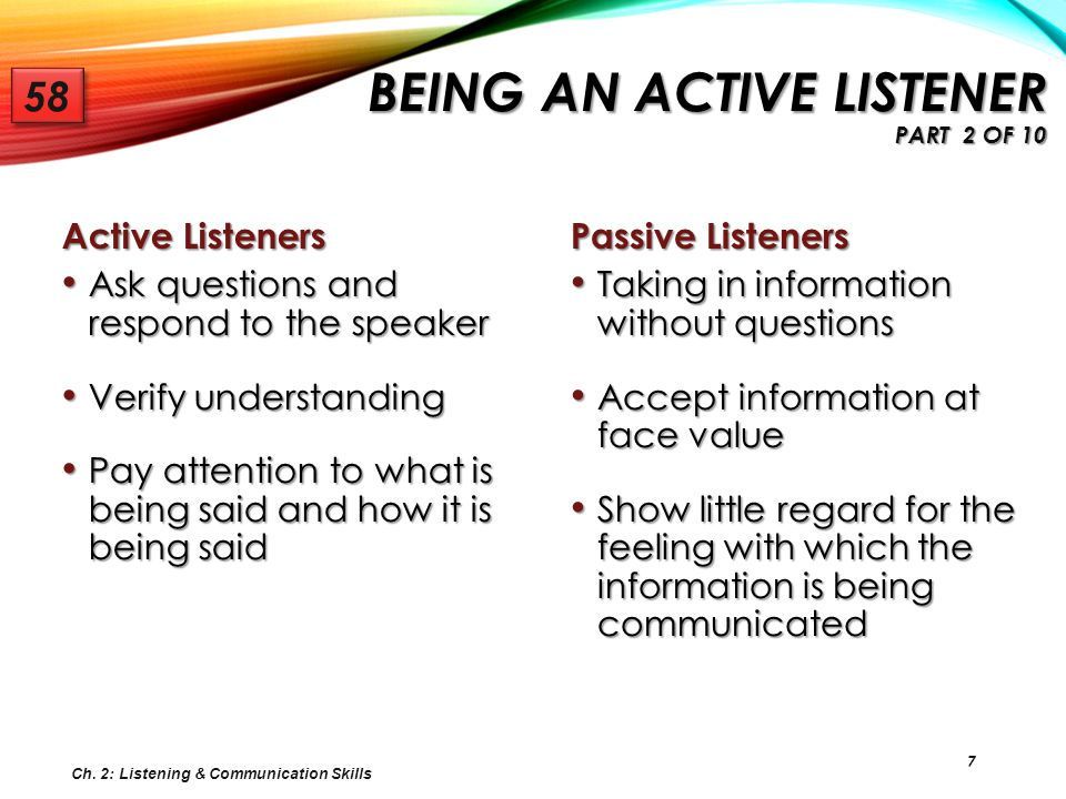 Being an Active Listener Part 2 of 10