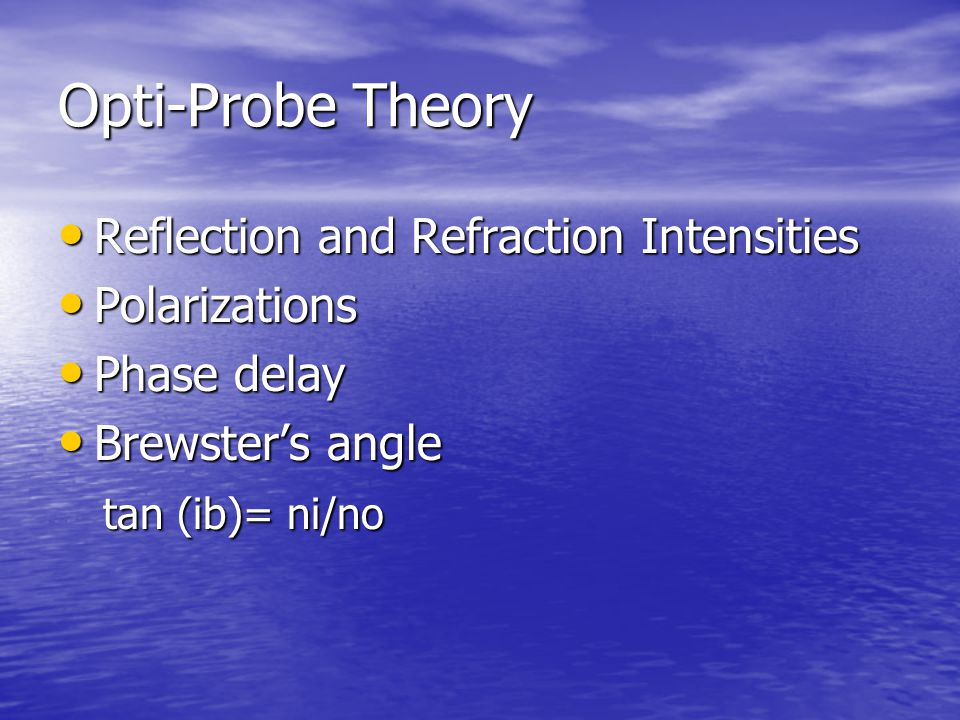 Opti-Probe Theory Reflection and Refraction Intensities Polarizations
