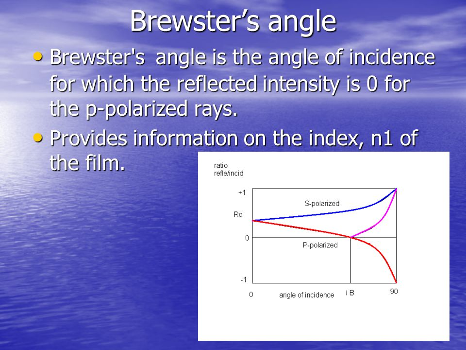 Brewster's angle Brewster s angle is the angle of incidence for which the reflected intensity is 0 for the p-polarized rays.