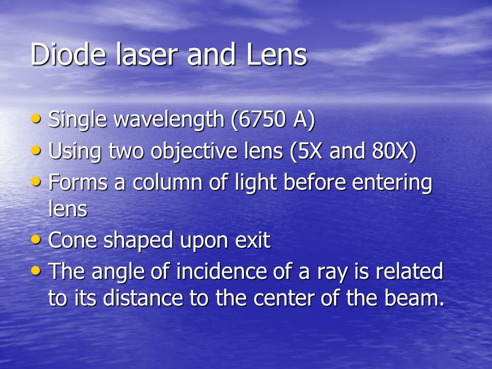 Diode laser and Lens Single wavelength (6750 A)