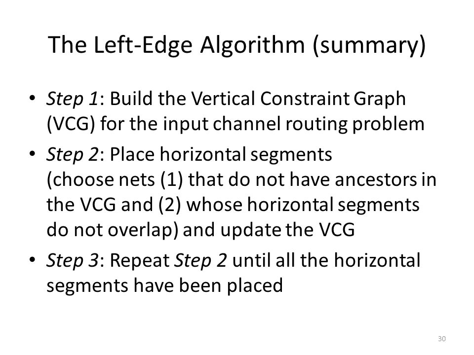 The Left-Edge Algorithm (summary)