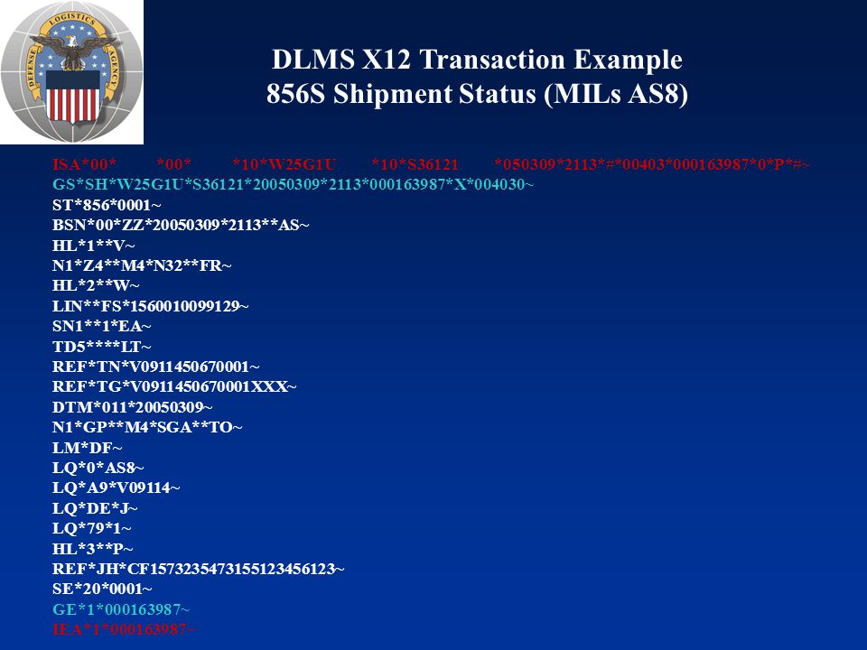 DLMS X12 Transaction Example 856S Shipment Status (MILs AS8)