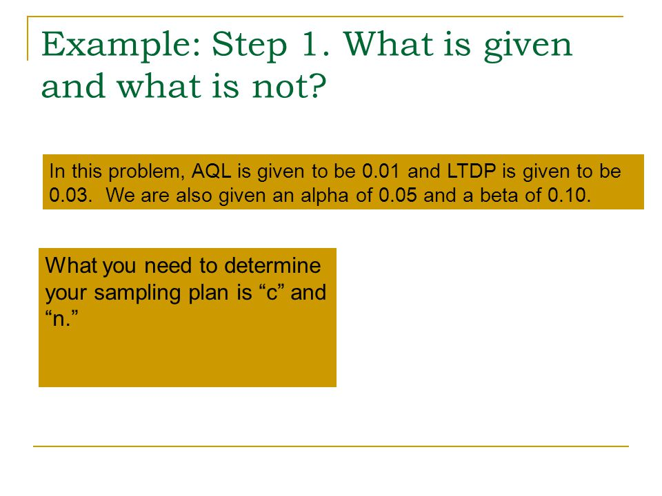 Example: Step 1. What is given and what is not