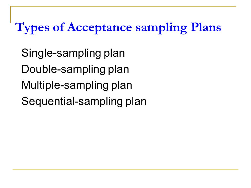 Types of Acceptance sampling Plans