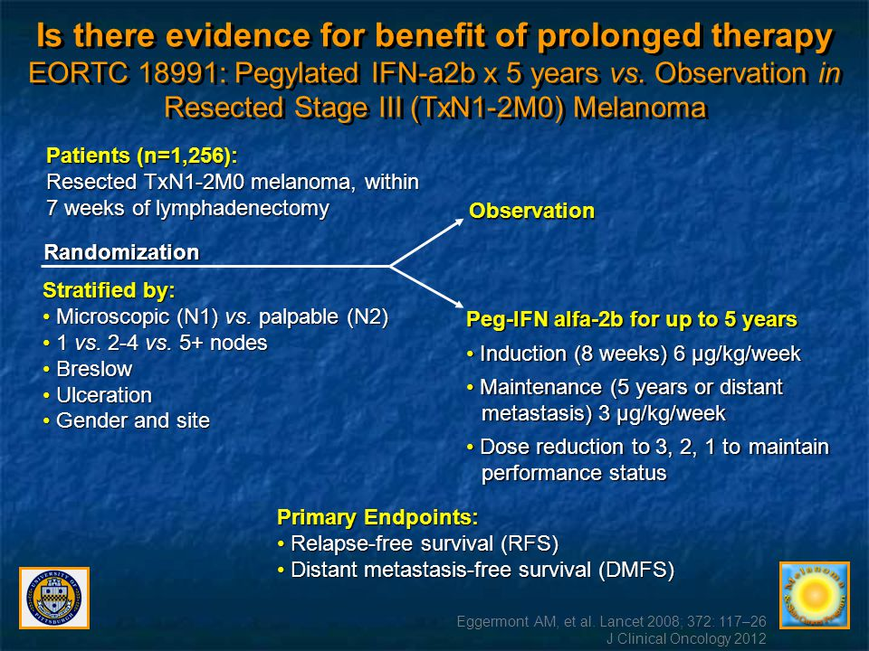 Is there evidence for benefit of prolonged therapy EORTC 18991: Pegylated IFN-a2b x 5 years vs. Observation in Resected Stage III (TxN1-2M0) Melanoma