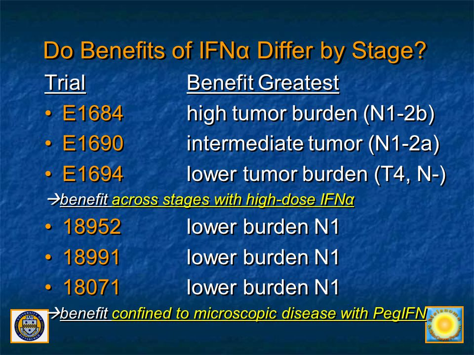 Do Benefits of IFNα Differ by Stage