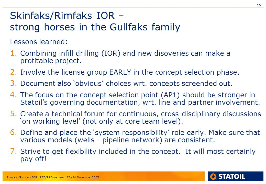 Skinfaks/Rimfaks IOR – strong horses in the Gullfaks family