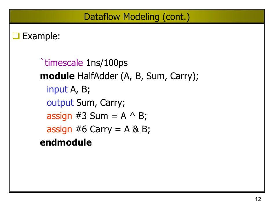 Dataflow Modeling (cont.)