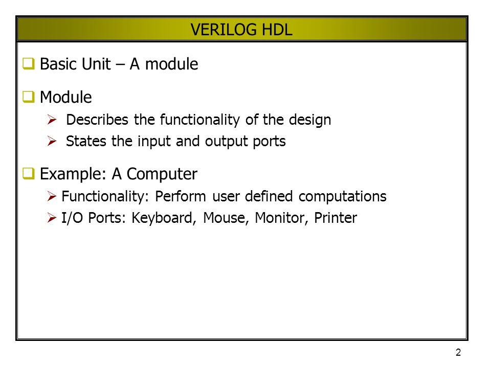 VERILOG HDL Basic Unit – A module Module Example: A Computer