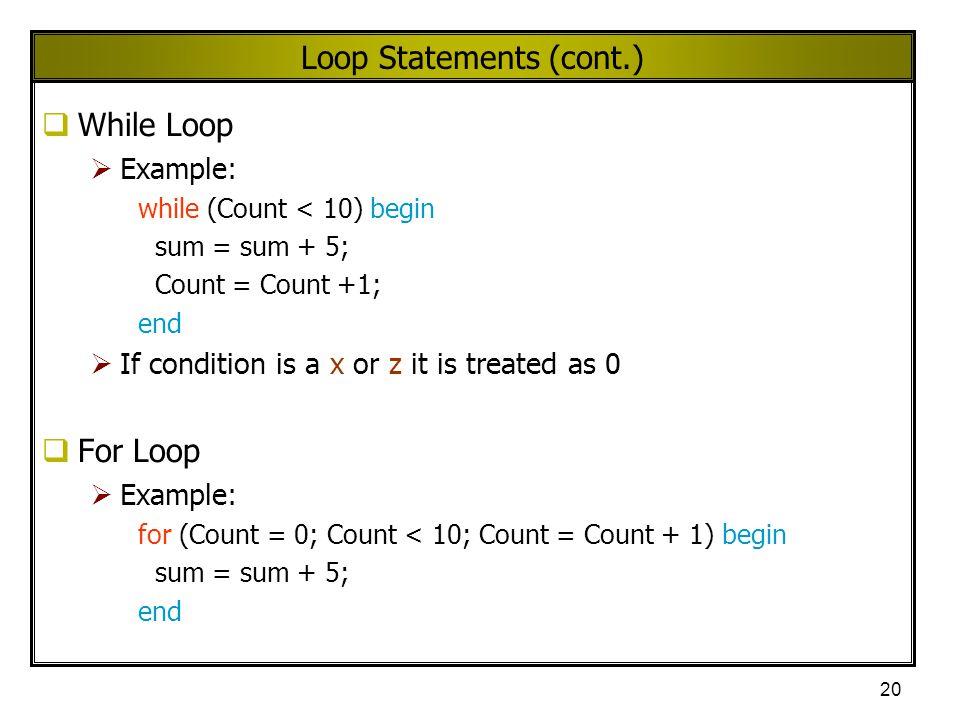Loop Statements (cont.)