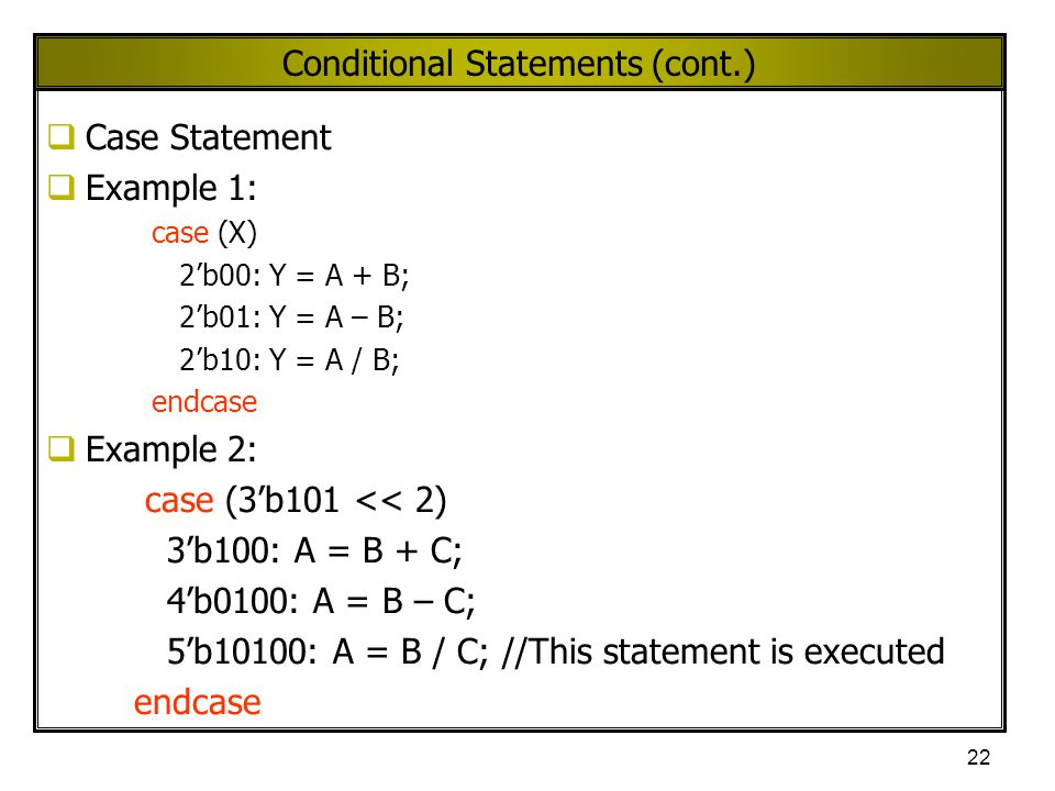 Conditional Statements (cont.)