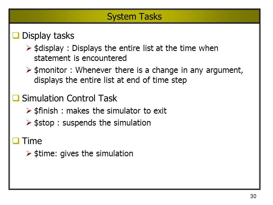 Simulation Control Task