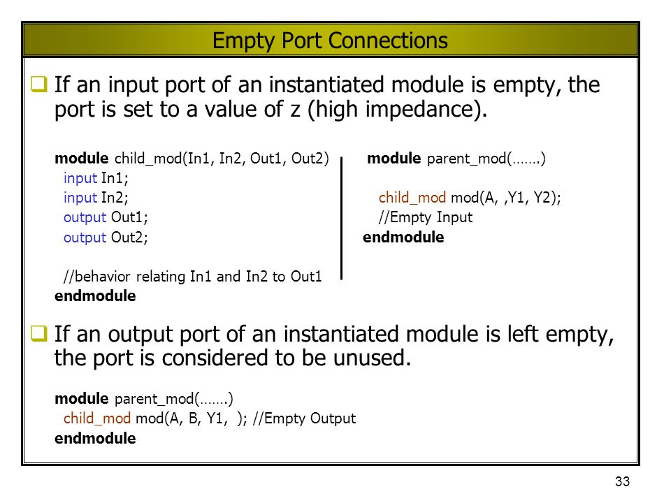 Empty Port Connections