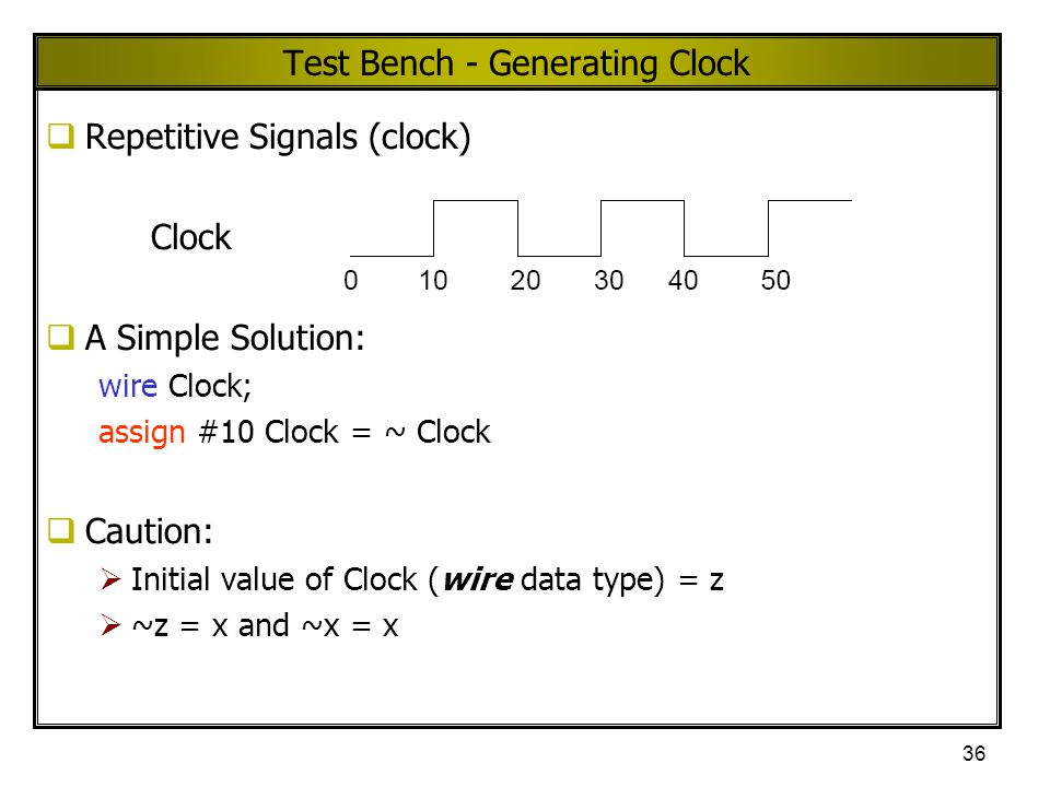 Test Bench - Generating Clock