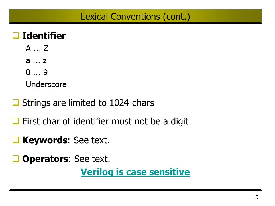 Lexical Conventions (cont.)