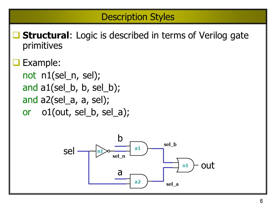 Structural: Logic is described in terms of Verilog gate primitives