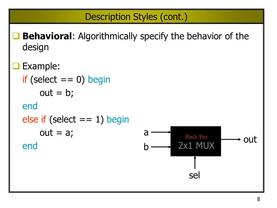 Description Styles (cont.)