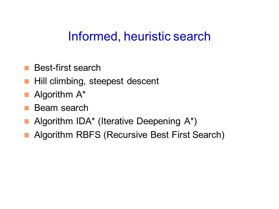 Informed, heuristic search