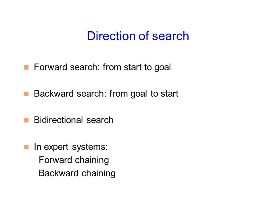 Direction of search Forward search: from start to goal