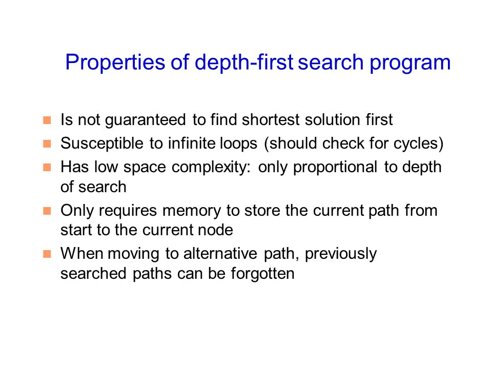 Properties of depth-first search program