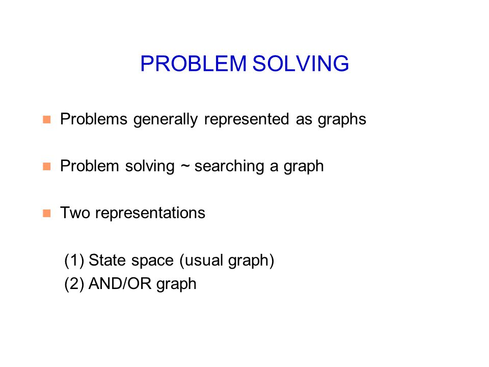 PROBLEM SOLVING Problems generally represented as graphs