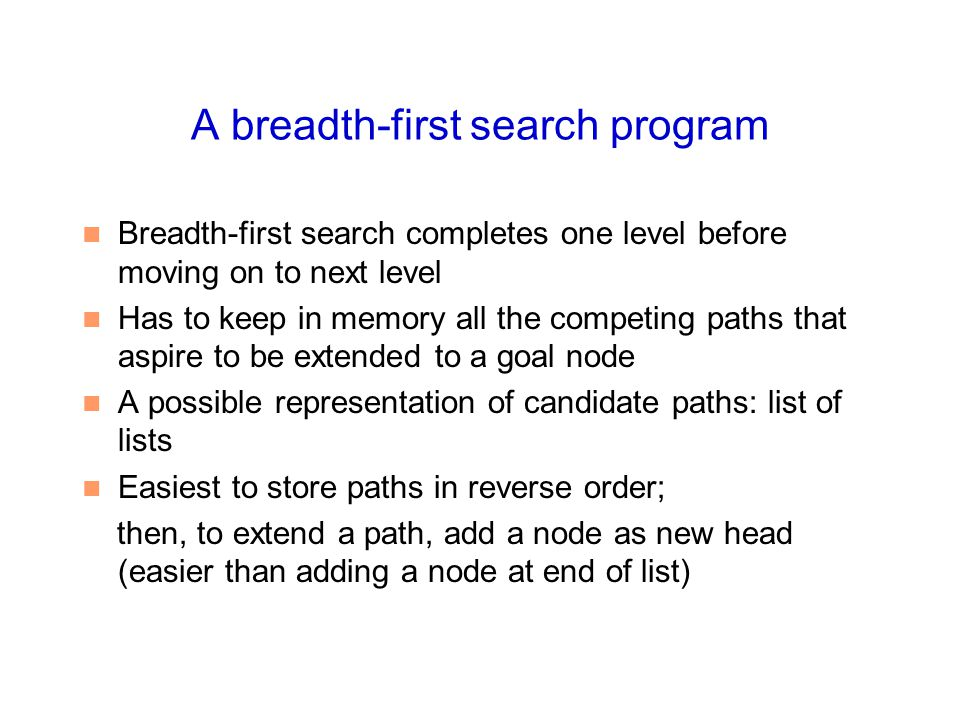 A breadth-first search program