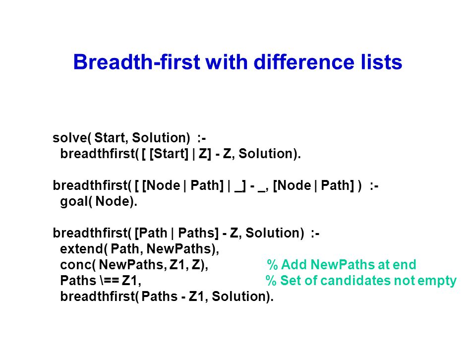 Breadth-first with difference lists