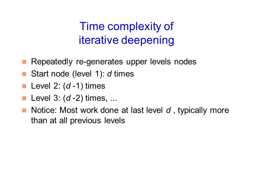 Time complexity of iterative deepening