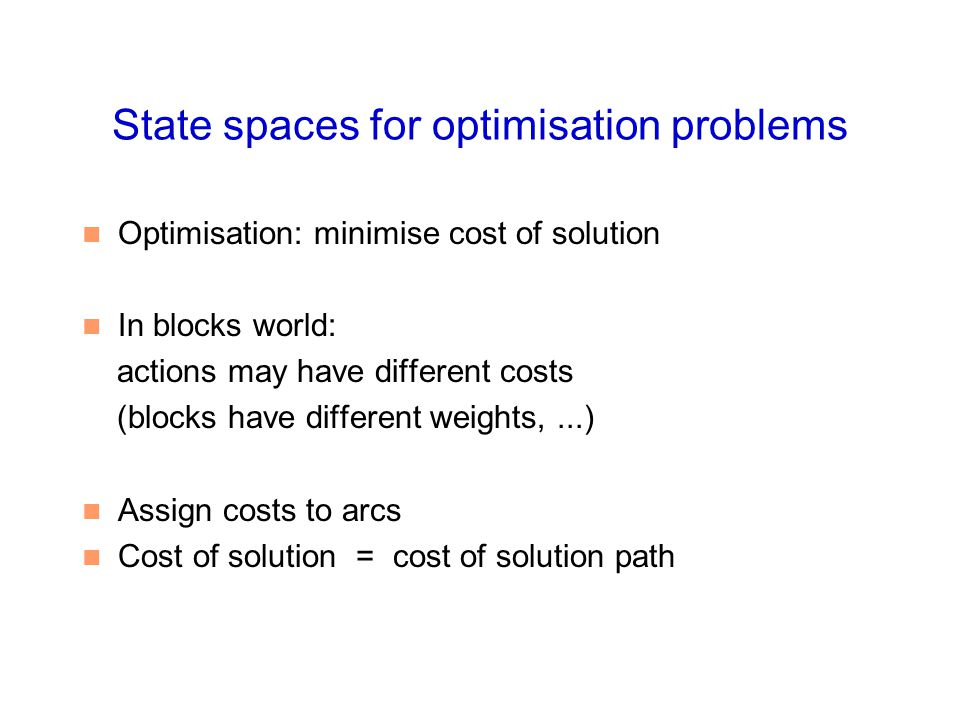 State spaces for optimisation problems