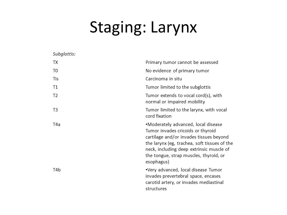 Staging: Larynx Subglottis: TX Primary tumor cannot be assessed T0