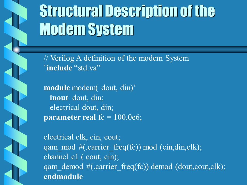 Structural Description of the Modem System