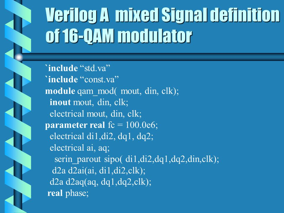 Verilog A mixed Signal definition of 16-QAM modulator