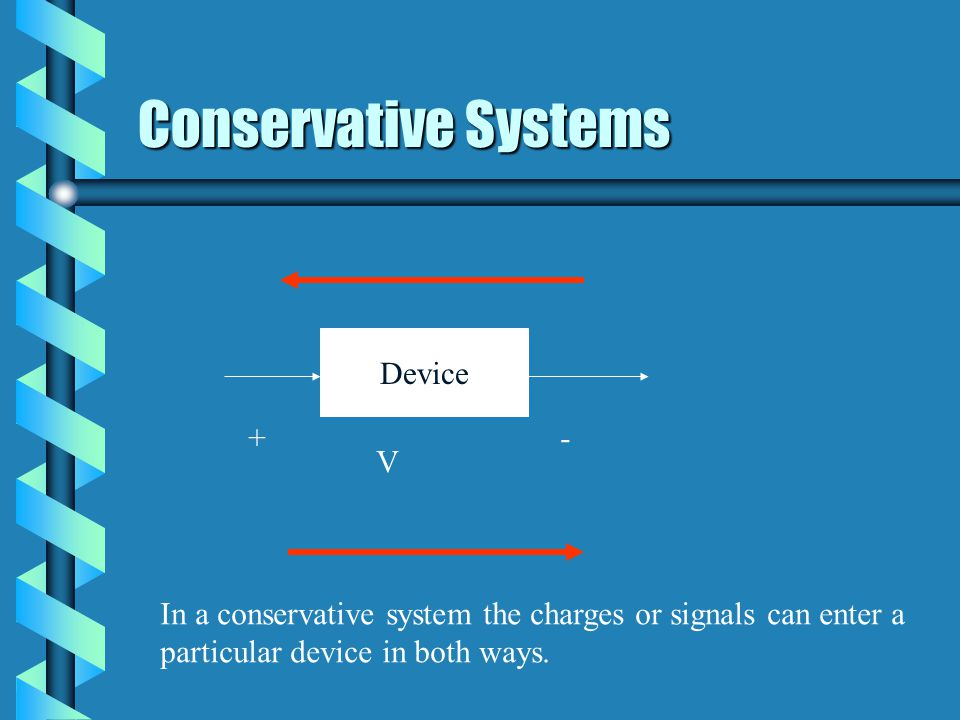 Conservative Systems Device + - V