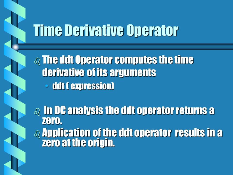Time Derivative Operator