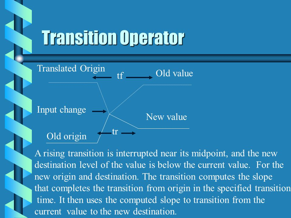 Transition Operator Translated Origin Old value tf Input change