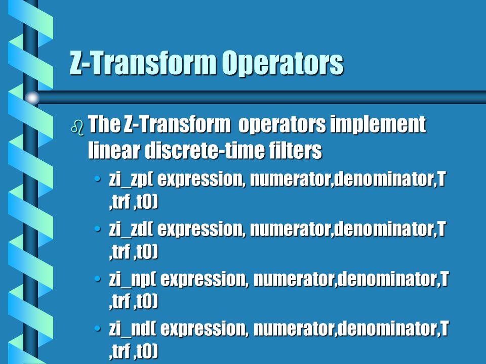 Z-Transform Operators