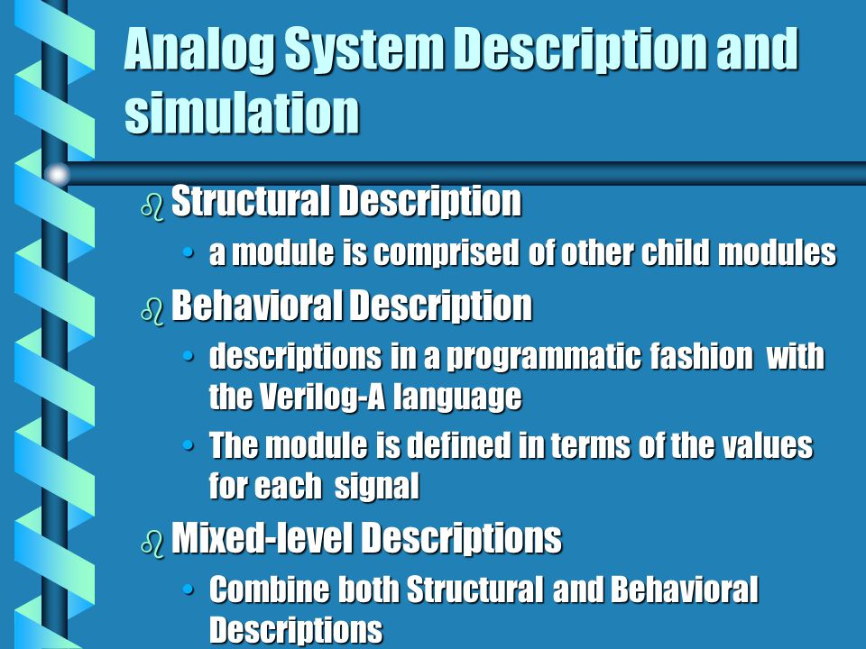 Analog System Description and simulation