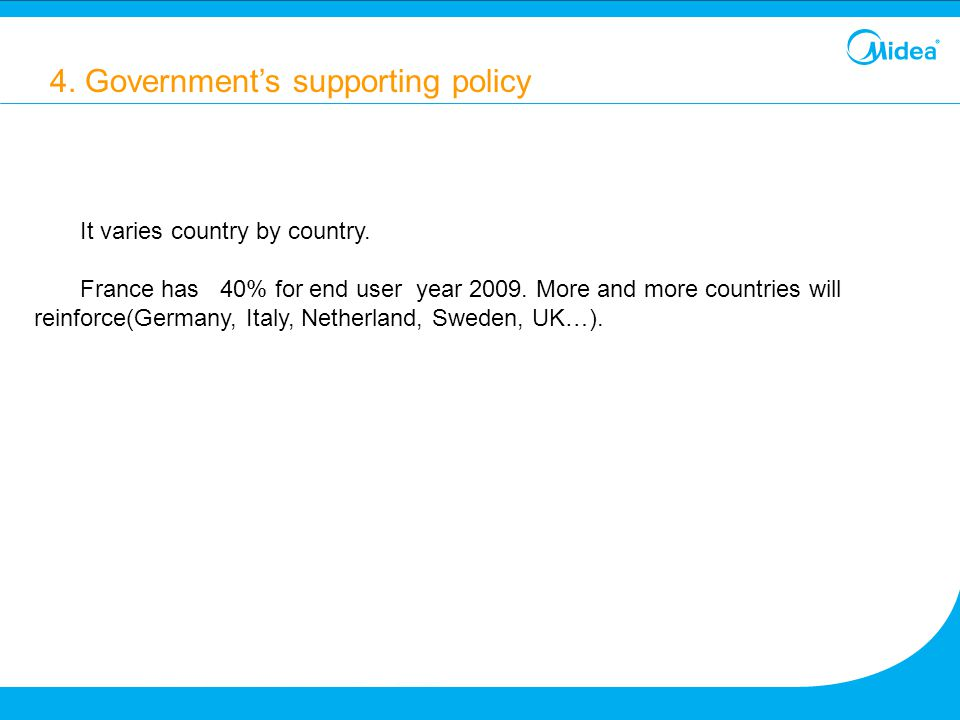 4. Government's supporting policy