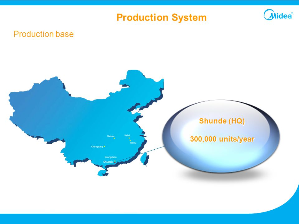 Production System Production base Shunde (HQ) 300,000 units/year 24