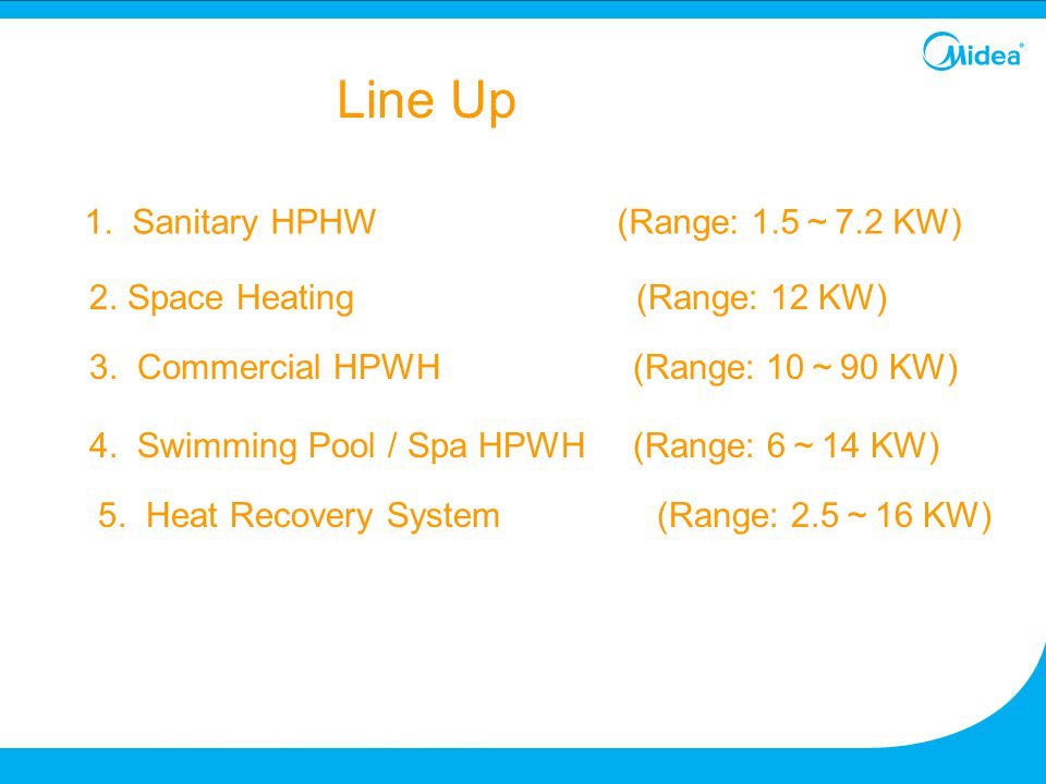 Line Up 1. Sanitary HPHW (Range: 1.5~7.2 KW)