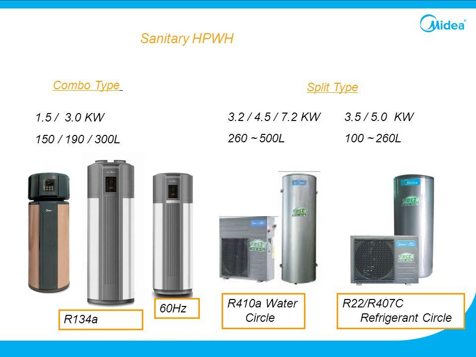 Sanitary HPWH Combo Type Split Type 1.5 / 3.0 KW 150 / 190 / 300L