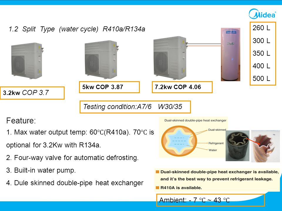 Feature: 1.2 Split Type (water cycle) R410a/R134a 260 L 300 L 350 L