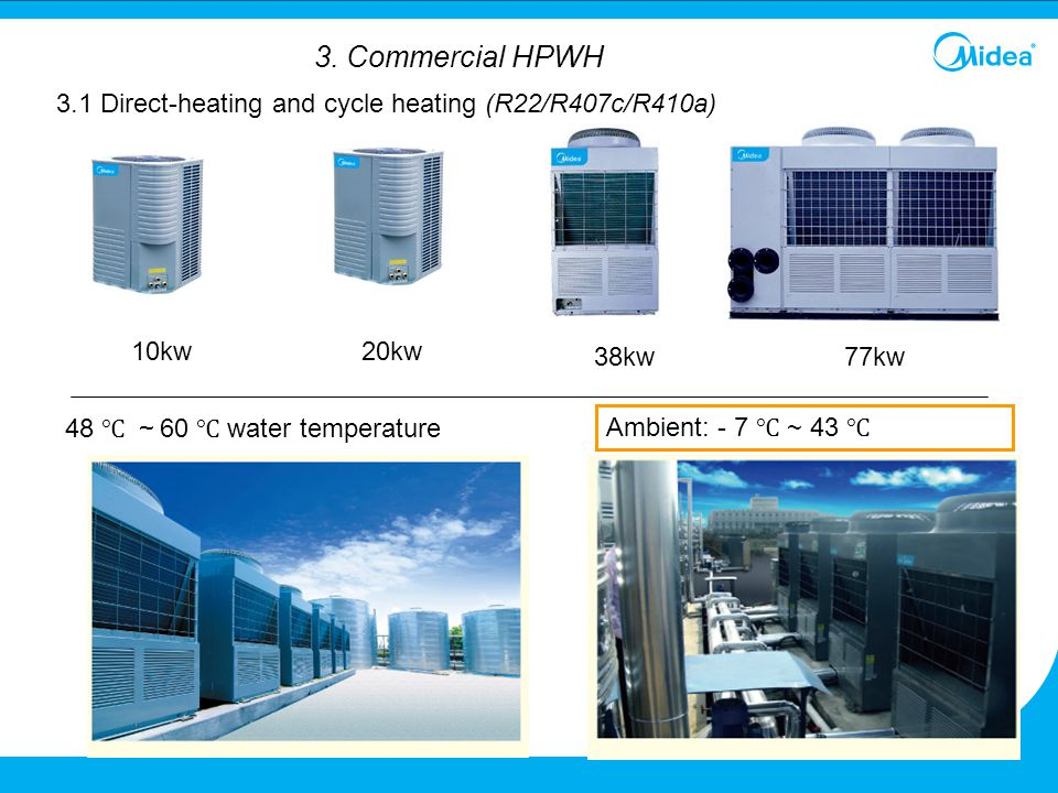 3. Commercial HPWH 3.1 Direct-heating and cycle heating (R22/R407c/R410a) 10kw. 20kw. 38kw. 77kw.