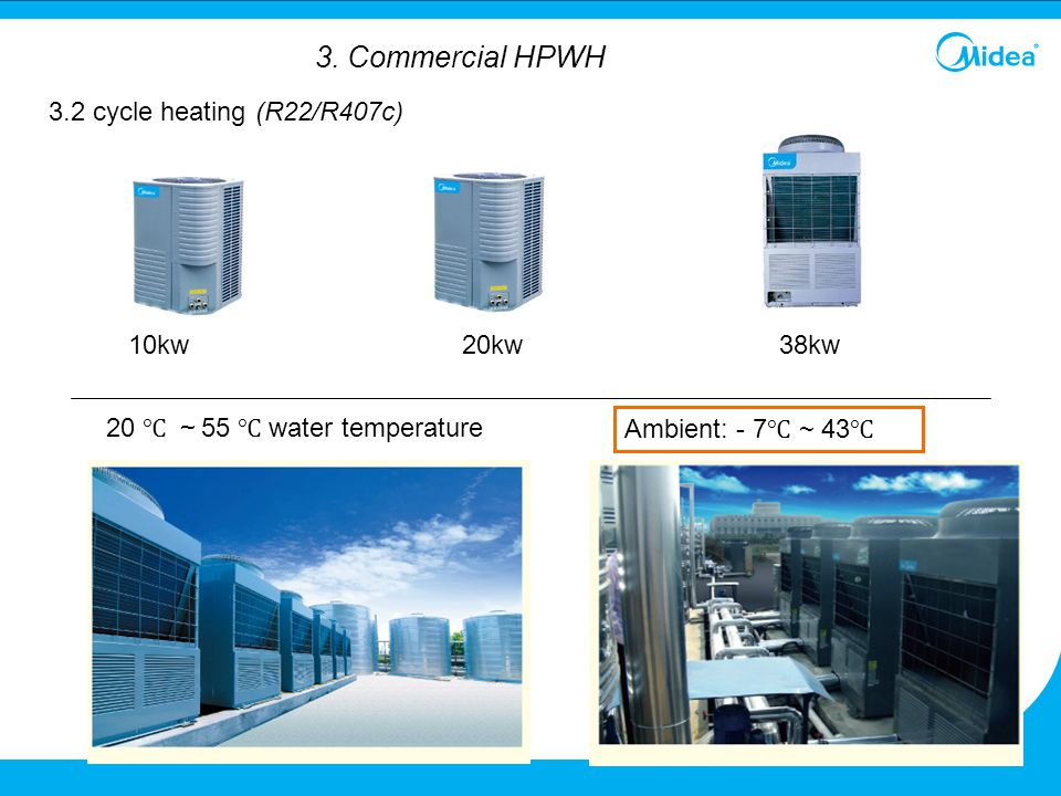 3. Commercial HPWH 3.2 cycle heating (R22/R407c) 10kw 20kw 38kw