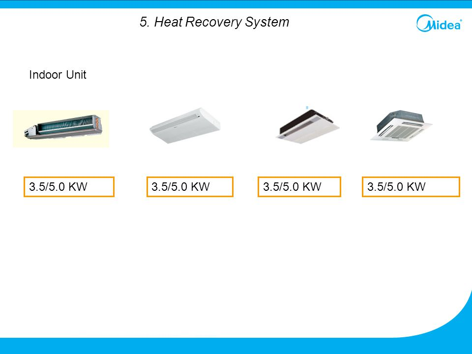 5. Heat Recovery System Indoor Unit 3.5/5.0 KW 3.5/5.0 KW 3.5/5.0 KW