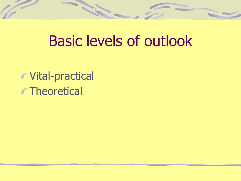 Basic levels of outlook