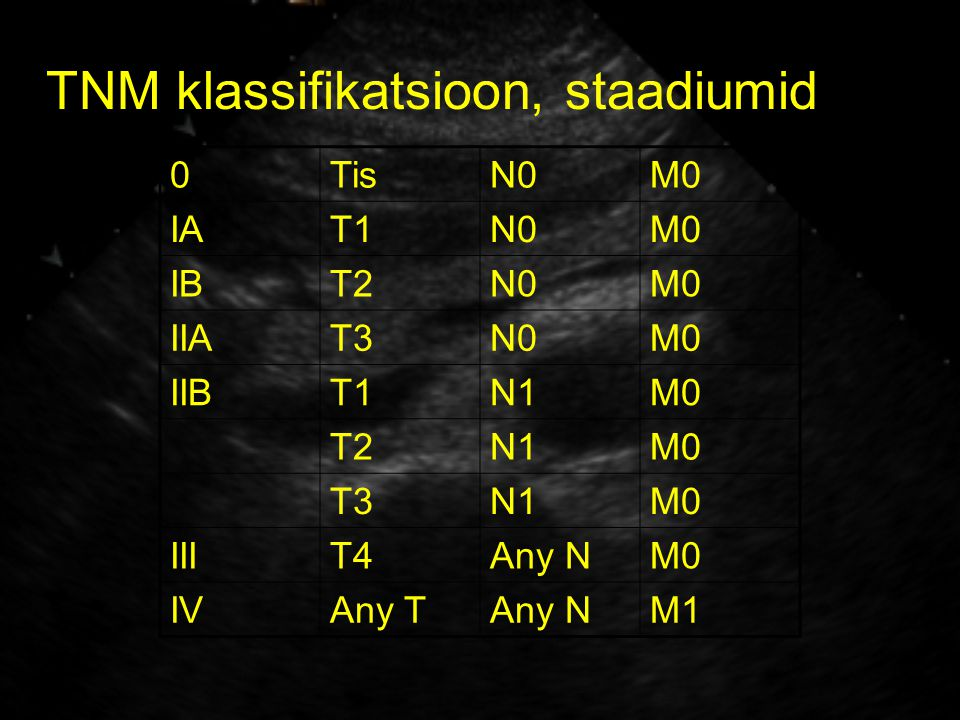TNM klassifikatsioon, staadiumid