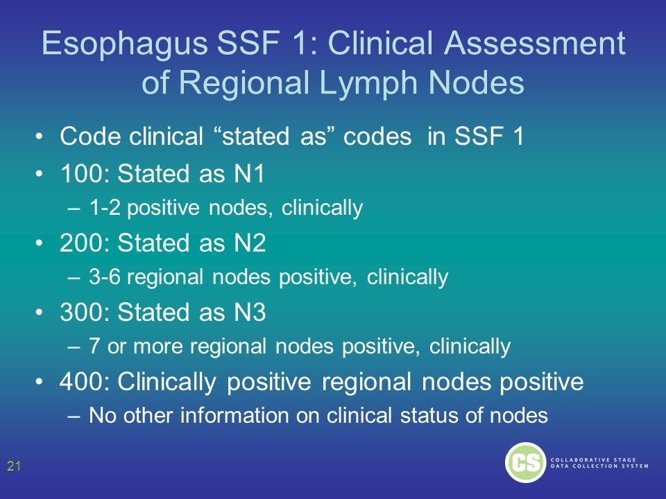 Esophagus SSF 1: Clinical Assessment of Regional Lymph Nodes