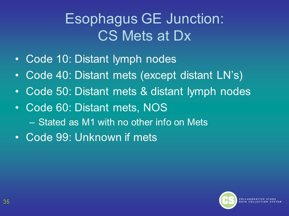 Esophagus GE Junction: CS Mets at Dx