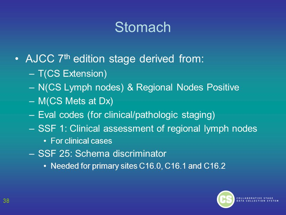 Stomach AJCC 7th edition stage derived from: T(CS Extension)